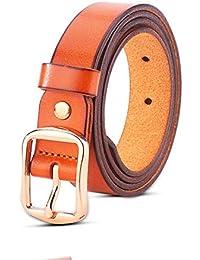 Hukangyu1231 Cinturon de Mujer Correa de Cuero Genuino de la aleación de Mujeres Correa Fina de la señora de Las Hebillas diurnas Cinturón para Mujer (Color : Marrón, tamaño : 105cm)