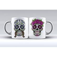 Pack 2 tazas ilustración calavera mejicana estampada hombre y mujer decorada desayuno regalo original pareja
