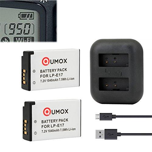 QUMOX 2x batteria LC-E17 LP-E17 EOS M3 M5 M6 77D 750D 760D 800D 8000D contatore batteria