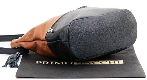 Spalla o borsa crossbody in pelle con texture italiana primo sacchi®. Tan & nero