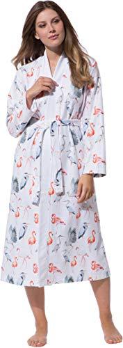 def160ec374aa2 Morgenstern Bademantel Kimono Damen Weiß Flamingo Muster Kimonobademantel  Morgenmantel Viskose Microfaser Übergröße Gemustert leicht weich Größe XL