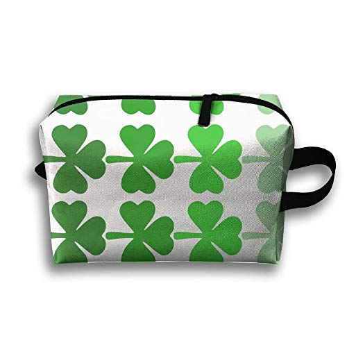 (Shamrock Ombre Printable Portable Travel Makeup Bag,Storage Bag Portable Ladies Travel Square Cosmetic Bag)