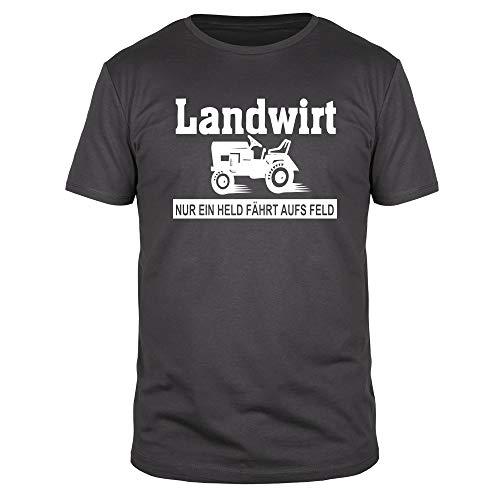 FABTEE - Nur ein Held fährt aufs Feld Landwirt Bauer Traktor Fun T-Shirt Herren - Größen S-4XL, Größe:XL, Farbe:Anthrazit
