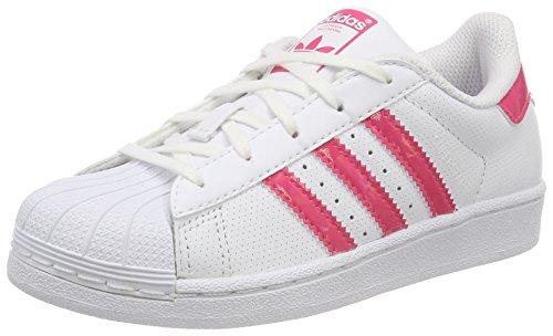 Adidas superstar, scarpe da ginnastica basse unisex-bambini, bianco (footwear white/real pink/footwear white), 35 eu