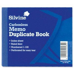 Silvine Duplicate Book Carbonless Memo 1-100 102x127mm Ref 703-P [Pack of 5] - Autocopiante Fattura Libro