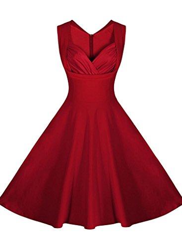 Minetom Femme Vintage 1950's Style Audrey Hepburn À pois Rockabilly Swing Sans Manche Col V Floral Robe de Soirée Cocktaile Rouge