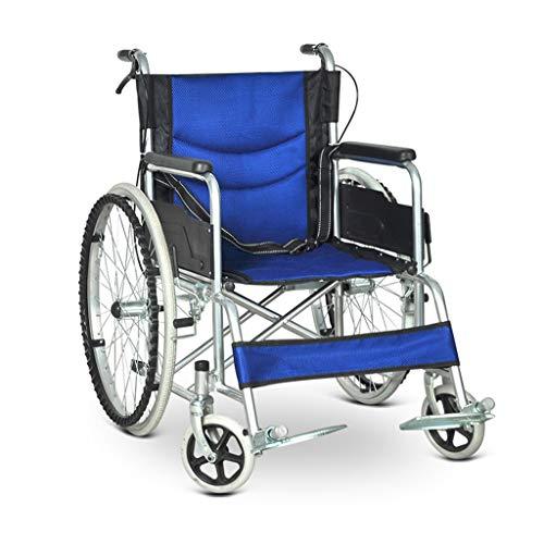 OULYO- La Silla de Ruedas autopropulsada, la Carretilla de Viaje portátil Ultraligera Plegable no Requiere Andador Inflable pequeño for Ancianos discapacitados (Color : Azul)