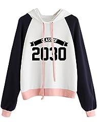 Sudadera con capucha 2030 Para Mujer, LILICAT Ropa deportiva Camisetas 2017 Otoño Invierno Manga larga, Ropa de abrigo Blusa Pullover Raglán Algodon (S)