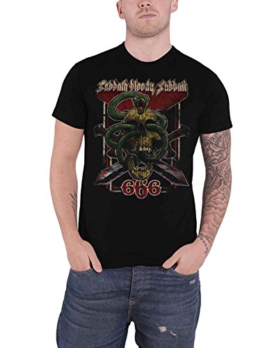 Black Sabbath T Shirt Bloody Sabbath 666 Distressed Logo Nue offiziell Herren -