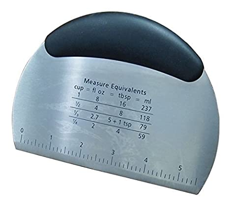 TopEs Master Class Stainless Steel Dough Scraper with inch measurements