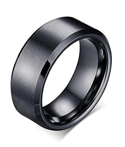 Vnox 8mm Mens Tungsten Carbide Matte Finish Plain Comfort Fit Band Ring for Wedding Engagement,Black,UK Size P