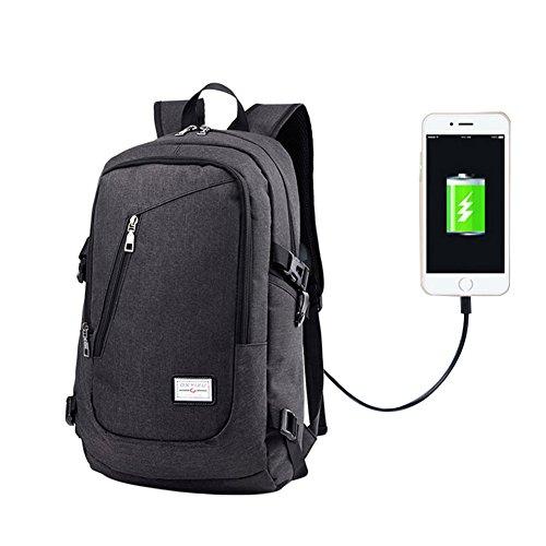 Ailin Online Laptop Rucksack mit USB Ladeanschluss Mode Casual Reiserucksack Polyester Große Fach Schulrucksack für Schule Reise Arbeit 3 Farben zu Auswahl (Schwarz)