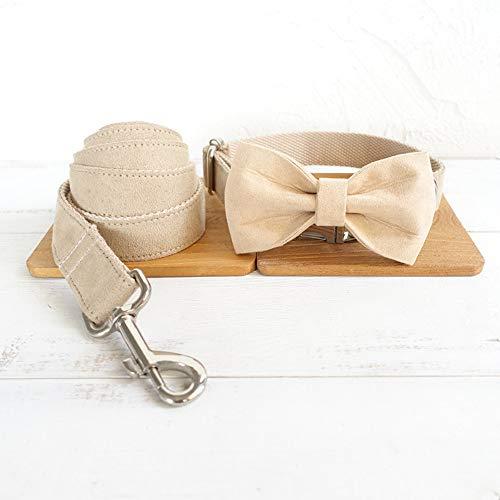 Gulunmun Klassische Halsbänder Pet Produkte Unabhängig Metalllegierung Schnalle Hundehalsband + Zugkraft + Krawatte Champagner M, 2,5 * 120 cm