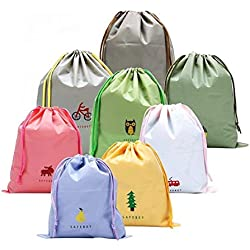 8 Piezas Chicas Organizador para maletas Bolsos de Lazo Del Almacenaje para viajar, Zapatos de Dibujos Animados Maleta de Cosméticos Bolsa de Lavandería de Tocador (Estilo: Dibujar cadena)
