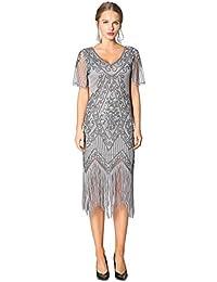 325a08b7b8b8f1 Metme Damen Charleston Kleid Retro 1920er Stil Flapper Kleider Kurzem Ärmel  Gatsby Kleider Cocktail Kostüm Kleid
