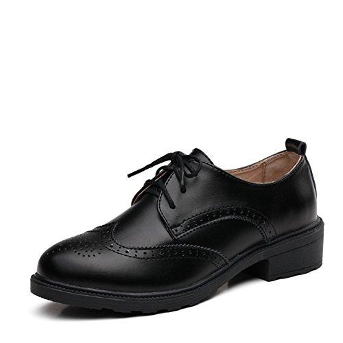 Chaussures féminine à la britannique/Chaussures Casual/Chaussures plates/Chaussures en cuir véritable/Chaussures vintage pour les femmes/Chaussures Oxford Student A