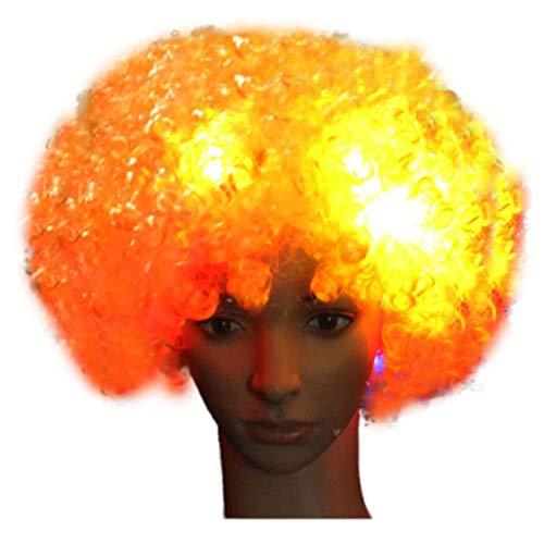 URSING Haar Perücke Party Disco LED Flash Clown Haar Fußball Fan-Erwachsener Afro Maskerade Clown Perücke Partyperücke Afroperücke Lange Afro-lockige Frisur Kunsthaar (F)