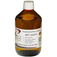 Preisvergleich für Kolloidales Silber 30 ppm 500ml (Ag9999, hochrein, pharm. Sterilwasser, Braunglas-Euromedizinflasche mit Originalitätsverschluss...