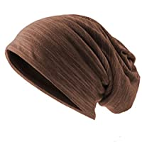 Ruphedy Mens Slouchy Beanie Skull Cap Summer Thin Baggy Oversized Knit Hat B301 (B011h-Brown)