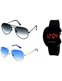 Younky Combo Of Uv Protected Aviator Sunglasses For Men Women Boys And Girls With Digital Led Watch ( Hlfblk-Silverblue-Aled ) - 2 Sunglass Case