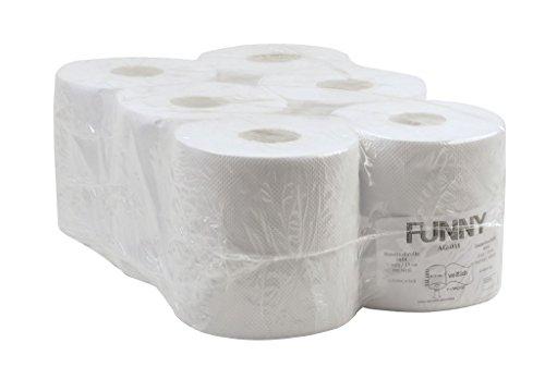 Funny Handtuchrolle, Innenabwicklung 19 cm, 1 lagig, 1er Pack (1 x 6 Stück), weiß