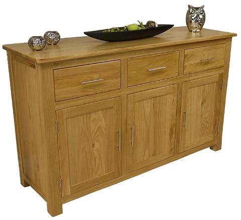 Oakland - Chunky Oak Large Sideboard / 3 Door 3 Drawer Cupboard / Dresser Cabinet