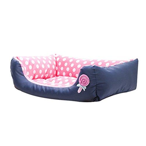 Lvrao cuccia per animali lavabile casette per cani, gatti rettangolare divano, letto dell'animale domestico (pink, 45*40*12cm)