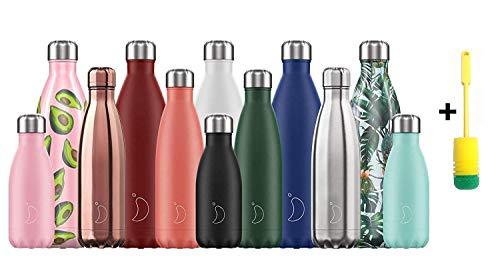 Chillys Flaschen Bottle   100{641611671c666b3989baaee29875aec9800cbe6e923741db6ff4a937e4761cad} Dicht   Edelstahl ohne BPA   Wiederverwendbare Wasserflasche   Doppelte Vakuumwand   hält 24 Stunden kalt - 12 Stunden heiß + Flaschenbürste (500ml, Sea Life Wal)