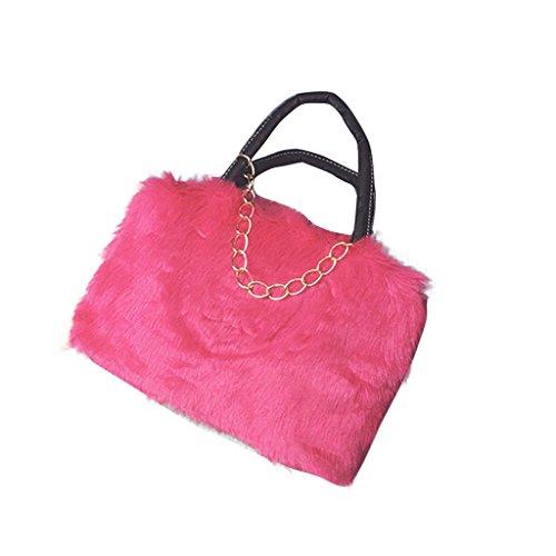 Longra Lady Ecopelle pelliccia del coniglio borsa Rosa caldo Salida Cómoda Comprar Barato Visa De Pago nMxh48