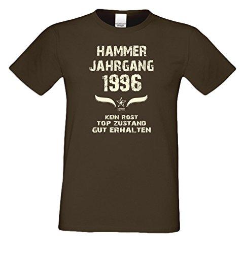 T-Shirt Herren Männer Geschenkidee zum 21. Geburtstag Motiv Hammer Jahrgang 1996 Geburtsjahr Freizeitlook Farbe: schwarz Braun
