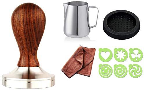 Practimondo Tamper 51mm Set ☕ Der Deluxe Espresso-Stempel für Kaffee-Liebhaber ☕ Ihr Kaffeemehlpresser (Ø 51mm) inkl. Ablage - Espresso-sockel