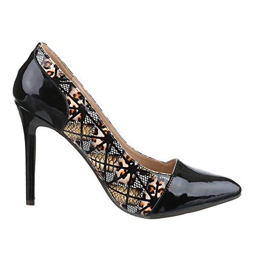 Ital-Design - Scarpe con Tacco Donna Nero (Nero/Marrone)