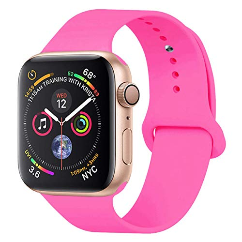 HILIMNY Para Correa Apple Watch 42MM, Suave Silicona iWatch Correa, Para Series 3, Series 2, Series 1, Nike+, Edition, Hermes (Barbie Pink, 42MM-SM)