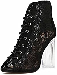 97f981f0094a Frauen Kreuz Gurt Spitze Cool Stiefel Neu Hohl Mesh Transparent Römisch Sandalen  Hoher Absatz Schuhe