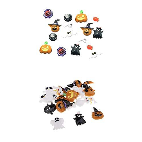 Fenteer 36er Set Harz Knöpfe Künstliche Perlen Halloween Flatback Verzierung Basteln Handwerk DIY Deko