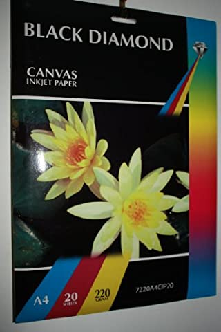 20 Sheets Black Diamond Heavyweight Doublesided Hi-Res A4 220gsm Light Canvas Effect White Inkjet Printer Paper (Not 100% Cotton