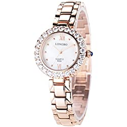 LONGBO Womens Fashion Full Stainless Steel Band Crystal Rhinestone Accented Lady Dress Watch Rose Gold Bracelet Wrist Watches Girl Analog Quartz Gold Hands Watches