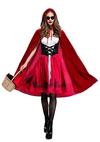 FStory&Winyee Damen Halloween Kostüm Rotkäppchen Kostüm mit Umhang Erwachsene Kleider für Halloween Fest Rollenspiel Kostüm Sexy Cosplay Kleid Karneval Verkleidung Party Nachtclub Kostüm