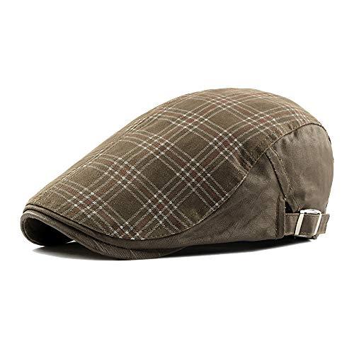 Unisex Gewaschene Baumwolle verstellbare Flache Ivy Newsboy Kollektion Hut Plaid Ivy Duckbill britischen Stil Newsboy Gatsby Irish Cap Hut (Color : 6, Size : Free Size)