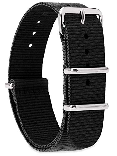 MOMENTO Zulu Nylon Watch Strap for Women and Men with Stainless Steel Buckle in Silver and Black Fabric