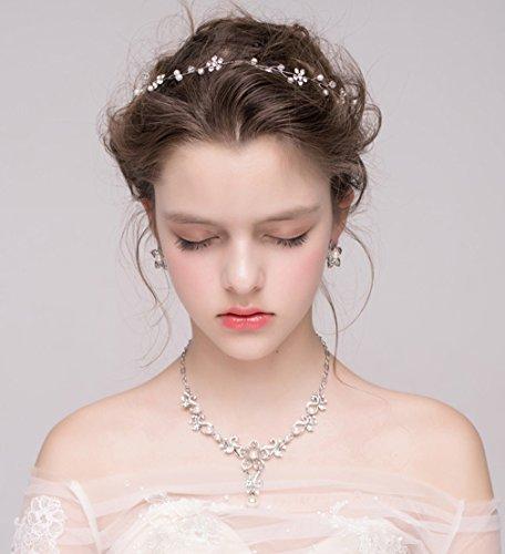 Dayiss Süß Braut Haarschmuck Blumen Diademe mit Kristall Perlen Hochzeit Vintage Silber und Gold (Silber) - 4