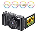 Videokamera Digitalkamera WiFi Camcorder 16X Digitalzoom Voll HD1080p 24.0MP Ultra HD Vlogging Kamera 3,0 Zoll Bildschirm Kompakte Kamera mit einziehbarem Blitzlicht