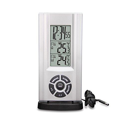 Technoline Wetterstation WS 7037 mit Kabelsonde, Uhrzeitanzeige sowie Innen- und Außentemperaturanzeige