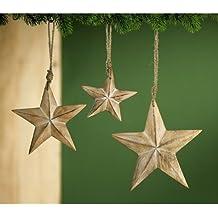 Gilde bois remorque décoratifs en forme d'étoile blanc vieilli 20 cm (neuf) 23559