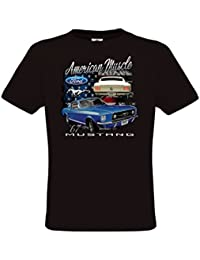 Ethno Designs - American Muscle Mustang - Hot Rod T-Shirt pour Hommes - Old School Rockabilly Vintage Retro Style - regular fit