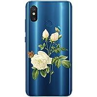 Oihxse Case Transparente Suave TPU Compatible con Xiaomi Mi 9 SE Funda [Lindo Caricatura Flor Serie Dibujos] Cristal Protector Carcasa Anti Rasguños Bumper Cover-Gardenia