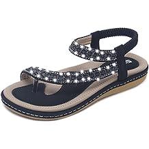 6298c50b06ce0 Yooeen Sandales Femmes Plates Été Élégant Boheme Strass Tongs Sandales  Confort Fashion Sandales Bout Ouvert Femme