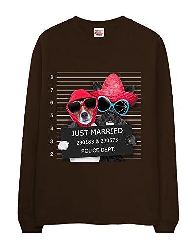 T-Shirt - Cute Dog Mug Shot - Just Married Chocolate XX-Large