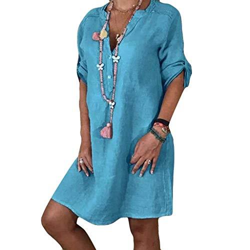 LILIHOT Frauen Freizeitkleid Halbe Hülsen Strandkleid Damen V Ansatz Sommerkleid Normallack Beiläufiges Kleid Elegant Abendkleid Abend Partykleid Mode Minikleid - Taste Korsett
