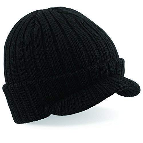Negro De Hombre Gorro con visera gorro invierno Tabla Nieve Esquí esquí gashion Sombrero Tejido